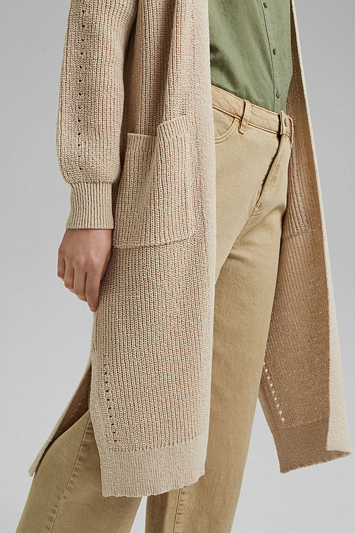 Long cardigan made of blended cotton, BEIGE, detail image number 2