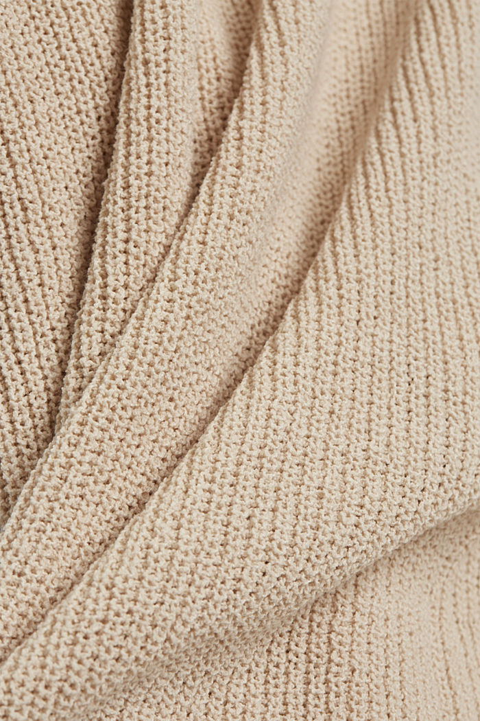 Long cardigan made of blended cotton, BEIGE, detail image number 4