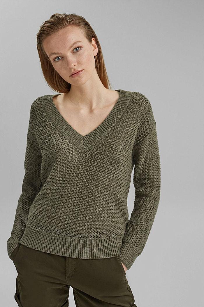 #ReimagineNaturalLifestyle: Pullover mit Leinen, LIGHT KHAKI, detail image number 0