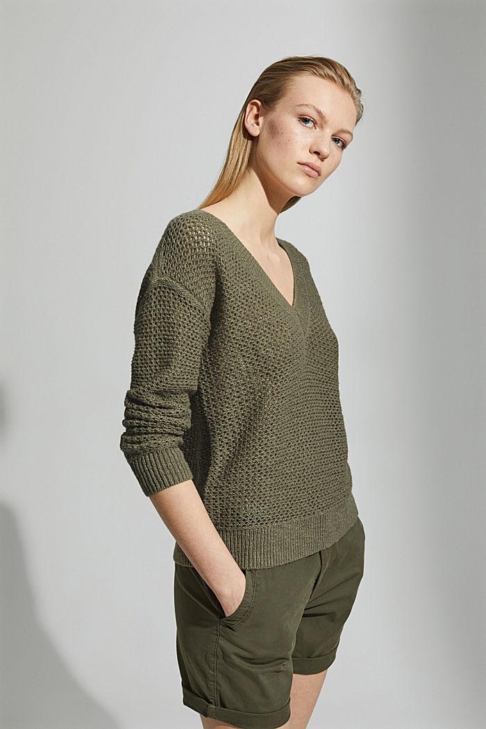 #ReimagineNaturalLifestyle: Pullover mit Leinen, LIGHT KHAKI, detail image number 5