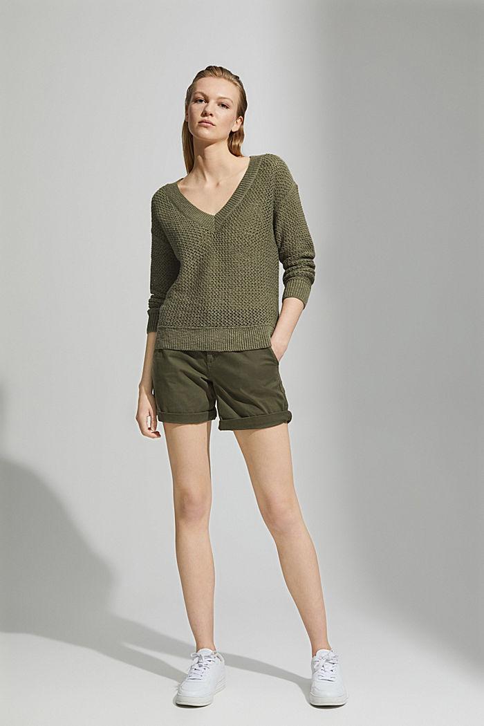 #ReimagineNaturalLifestyle: Pullover mit Leinen, LIGHT KHAKI, detail image number 1