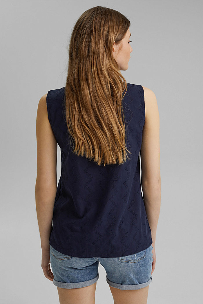 Material mix top with broderie anglaise, NAVY, detail image number 3
