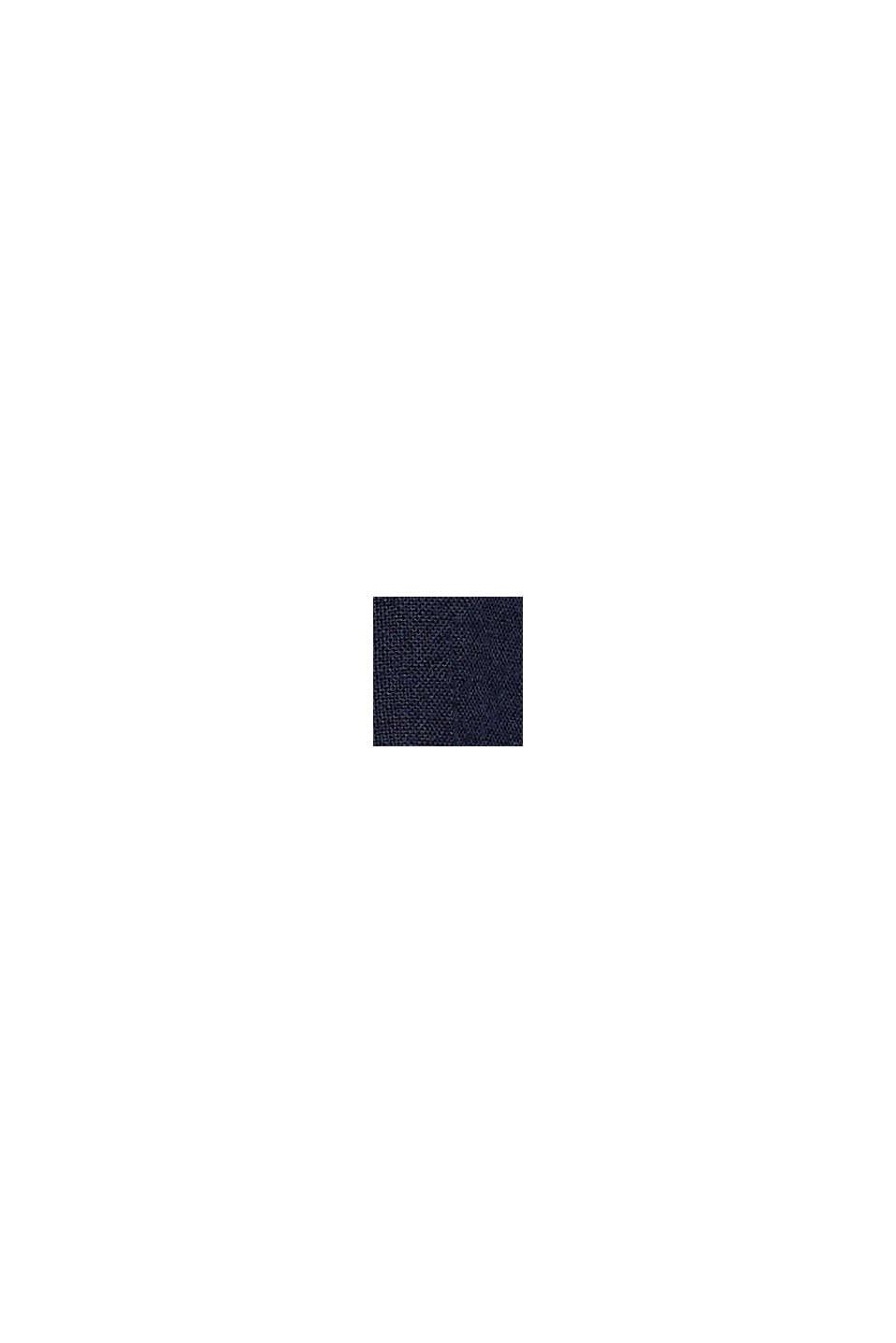 Top van een materiaalmix met opengewerkt borduursel, NAVY, swatch