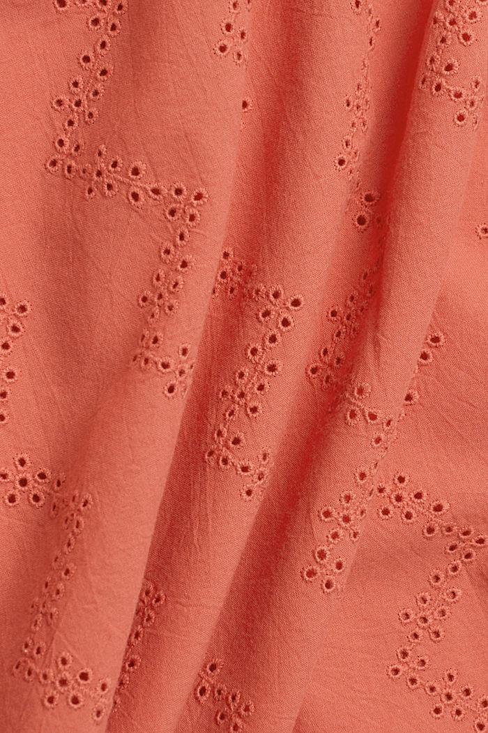 Top van een materiaalmix met opengewerkt borduursel, CORAL, detail image number 4