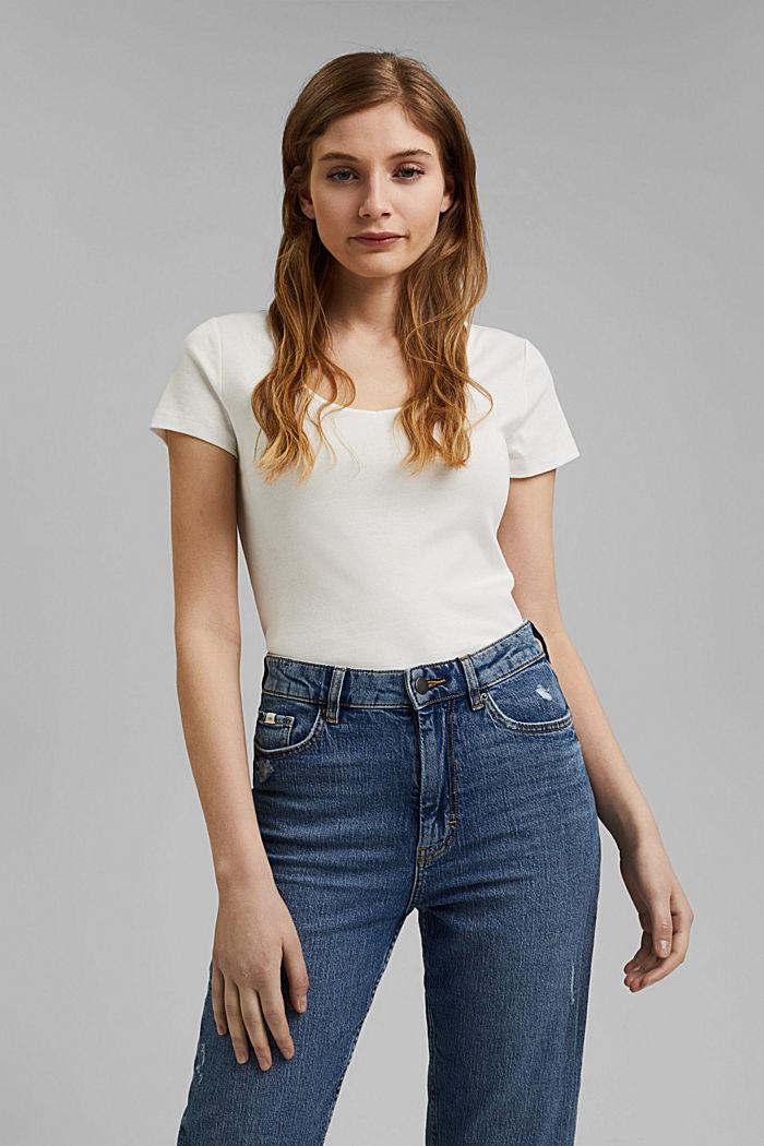 Basic V-neck T-shirt in organic cotton, OFF WHITE, detail image number 0