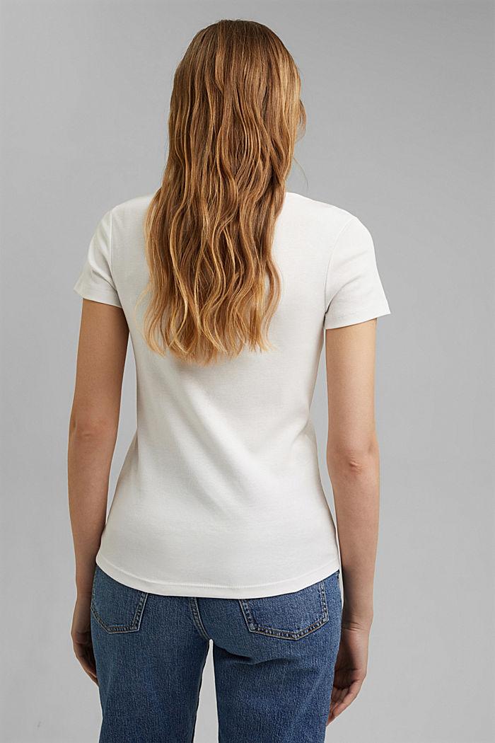 Basic V-neck T-shirt in organic cotton, OFF WHITE, detail image number 3