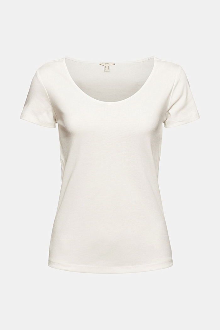 Basic V-neck T-shirt in organic cotton, OFF WHITE, detail image number 6