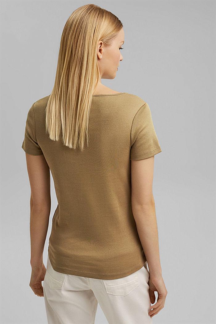 Basic shirt met V-hals, van biologisch katoen, LIGHT KHAKI, detail image number 3