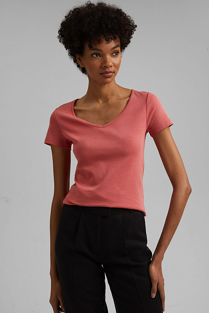 Basic V-Neck-Shirt aus Organic Cotton, CORAL, detail image number 0