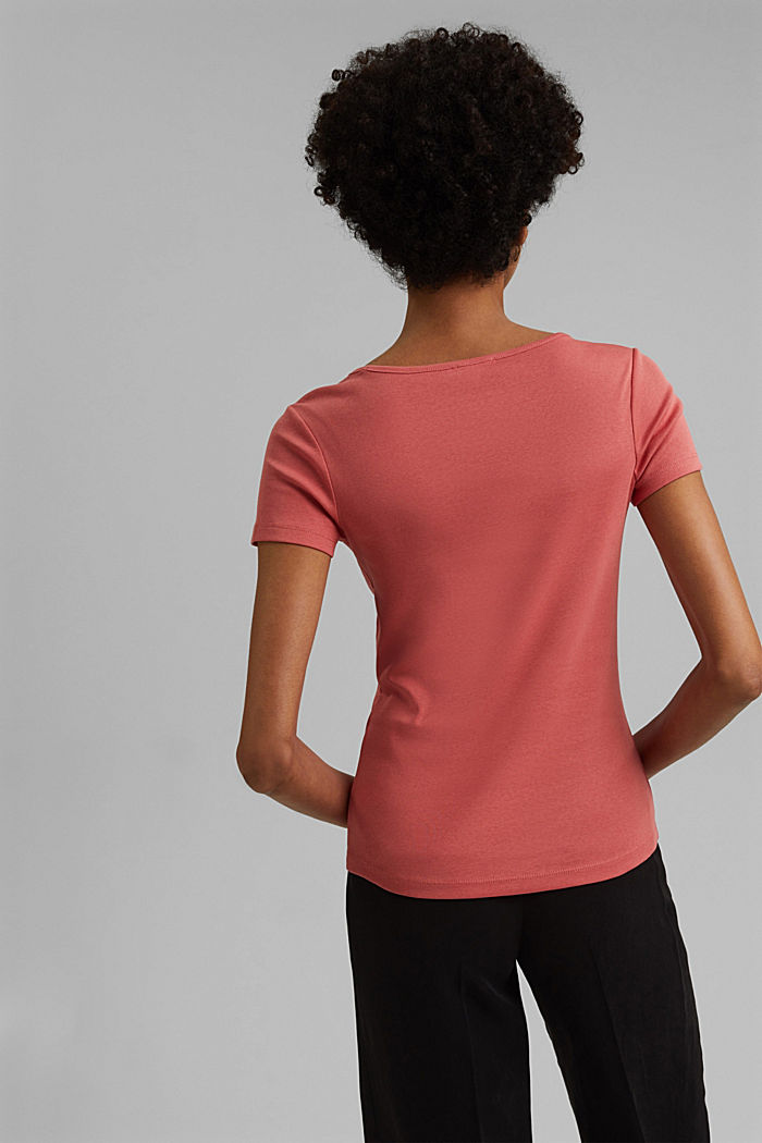 Basic V-Neck-Shirt aus Organic Cotton, CORAL, detail image number 3