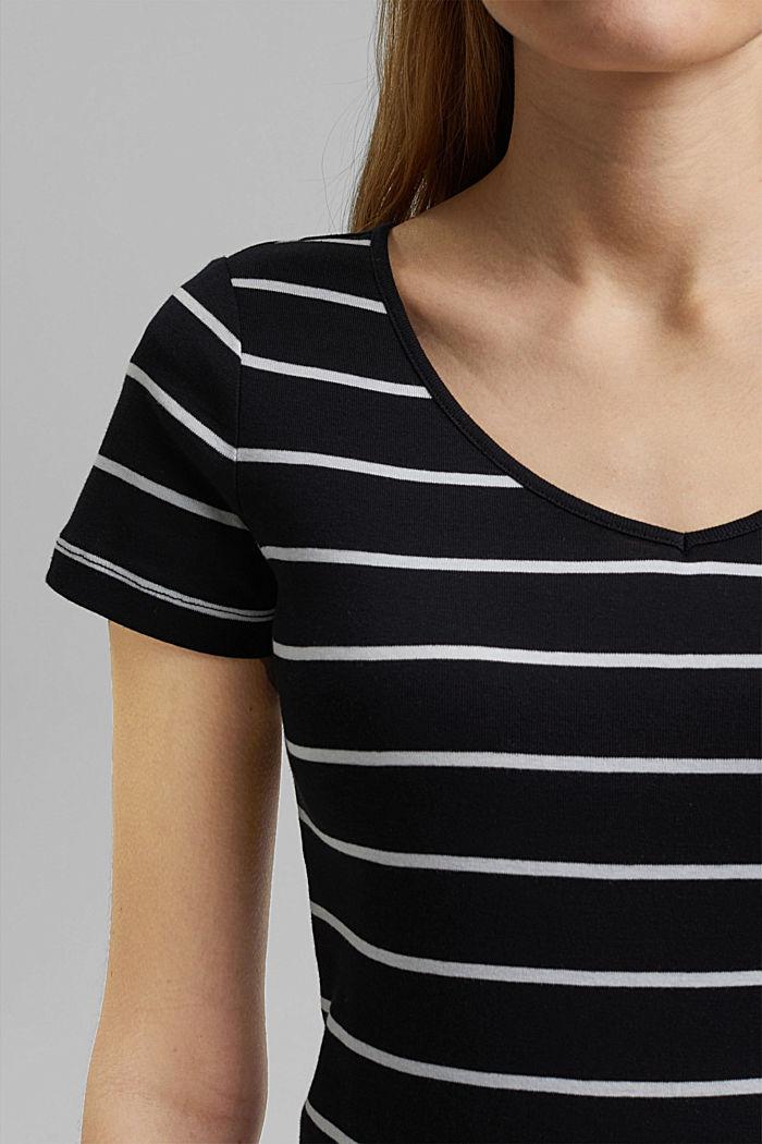 Basic V-neck T-shirt in organic cotton, BLACK, detail image number 2