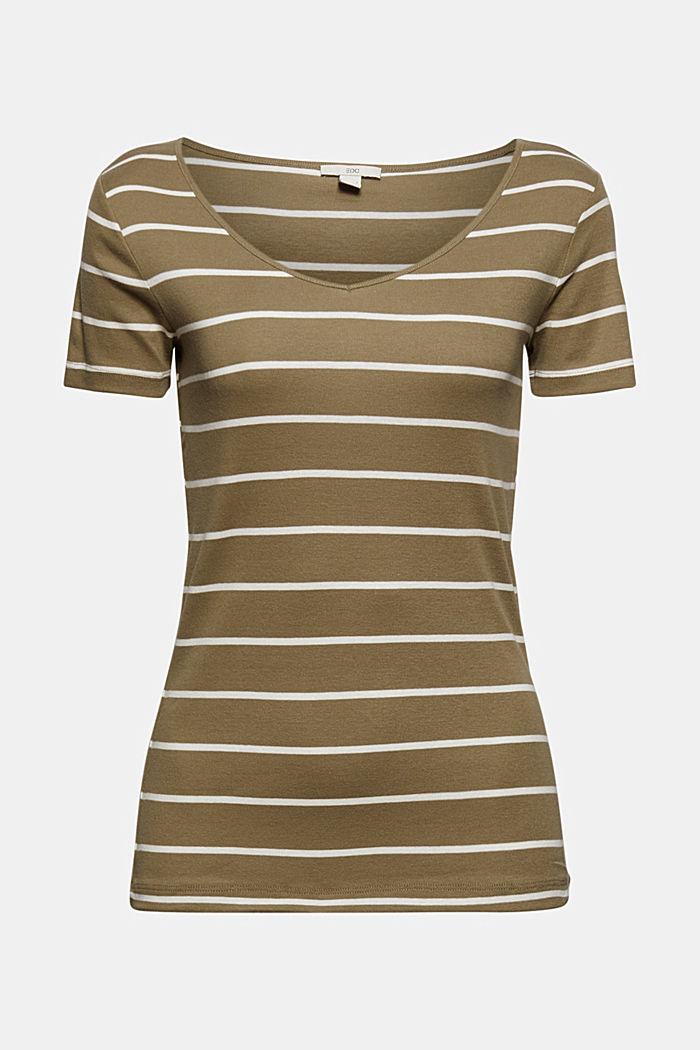 Basic V-Neck-Shirt aus Organic Cotton, LIGHT KHAKI, detail image number 6