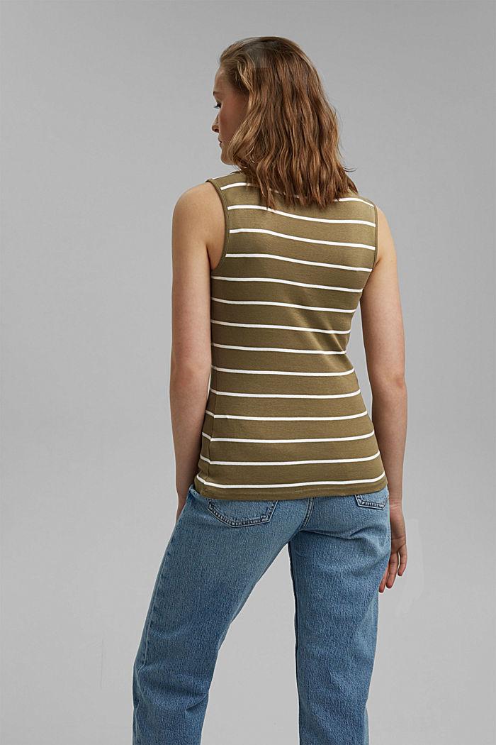 V-neck sleeveless top, 100% organic cotton, LIGHT KHAKI, detail image number 3
