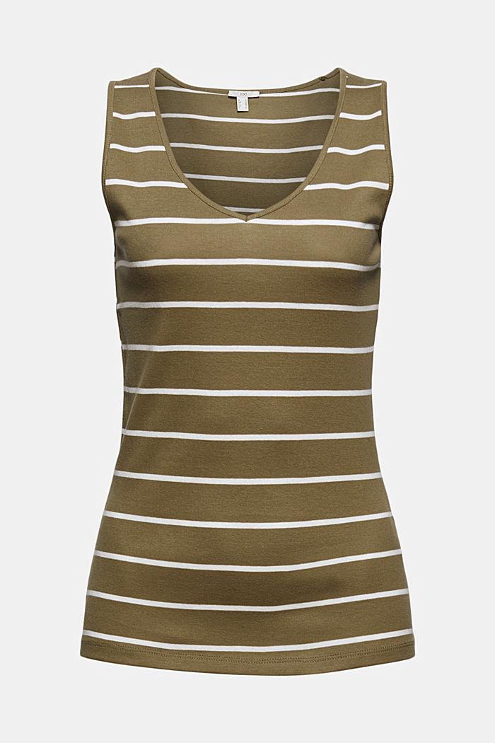 V-neck sleeveless top, 100% organic cotton, LIGHT KHAKI, detail image number 6