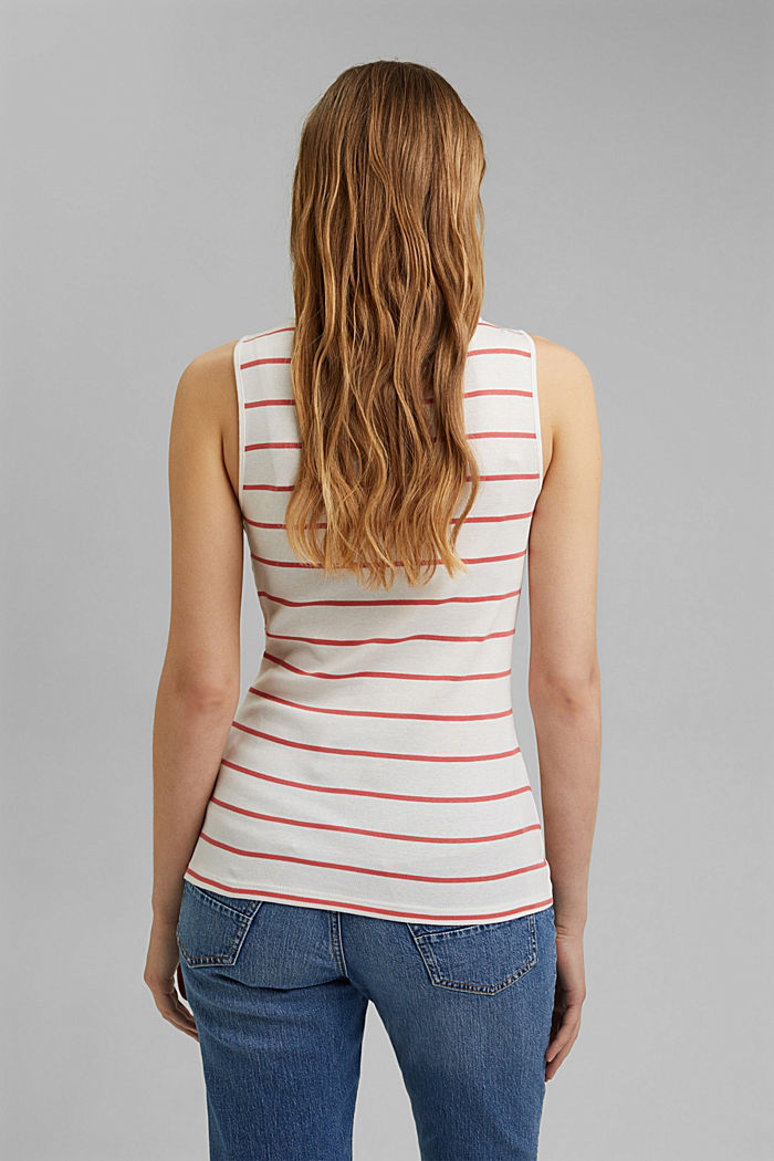 V-neck sleeveless top, 100% organic cotton, CORAL, detail image number 3