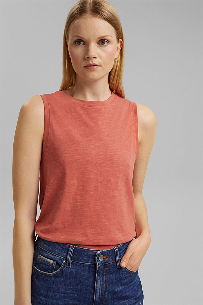 Organic cotton sleeveless top, CORAL, detail image number 0