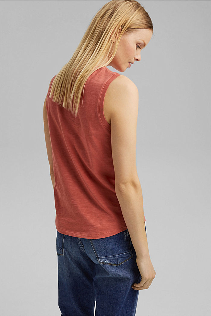 Organic cotton sleeveless top, CORAL, detail image number 3