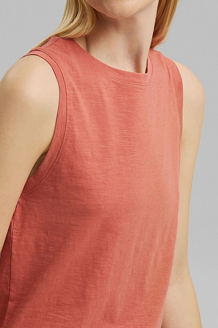 Organic cotton sleeveless top, CORAL, detail image number 2