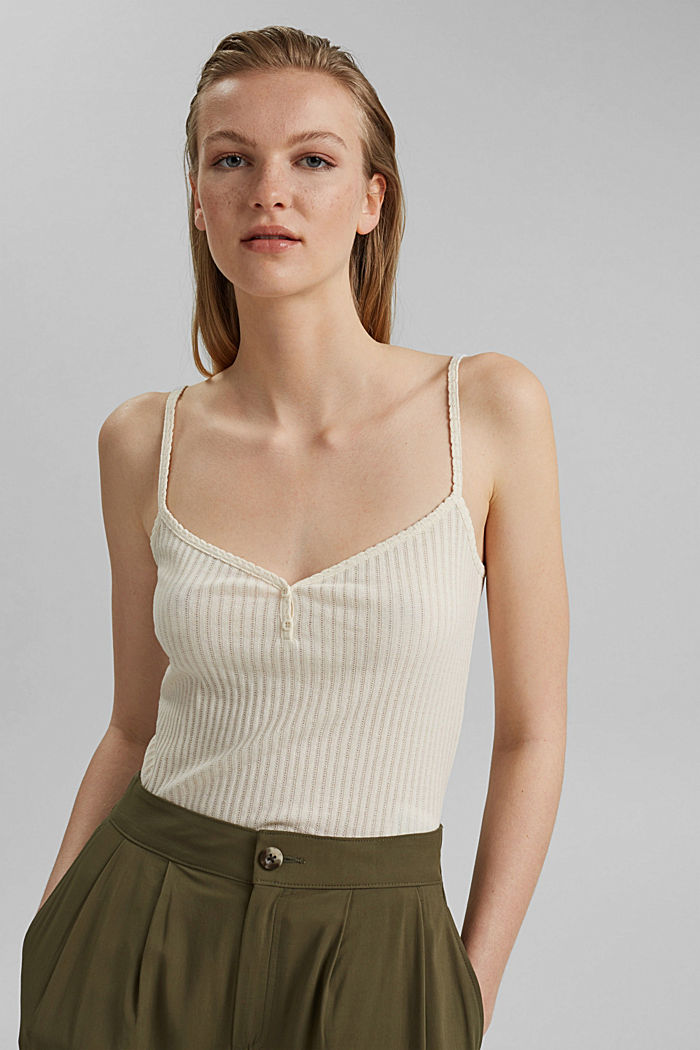 Recycled: strappy top with a pointelle pattern, OFF WHITE, detail image number 0