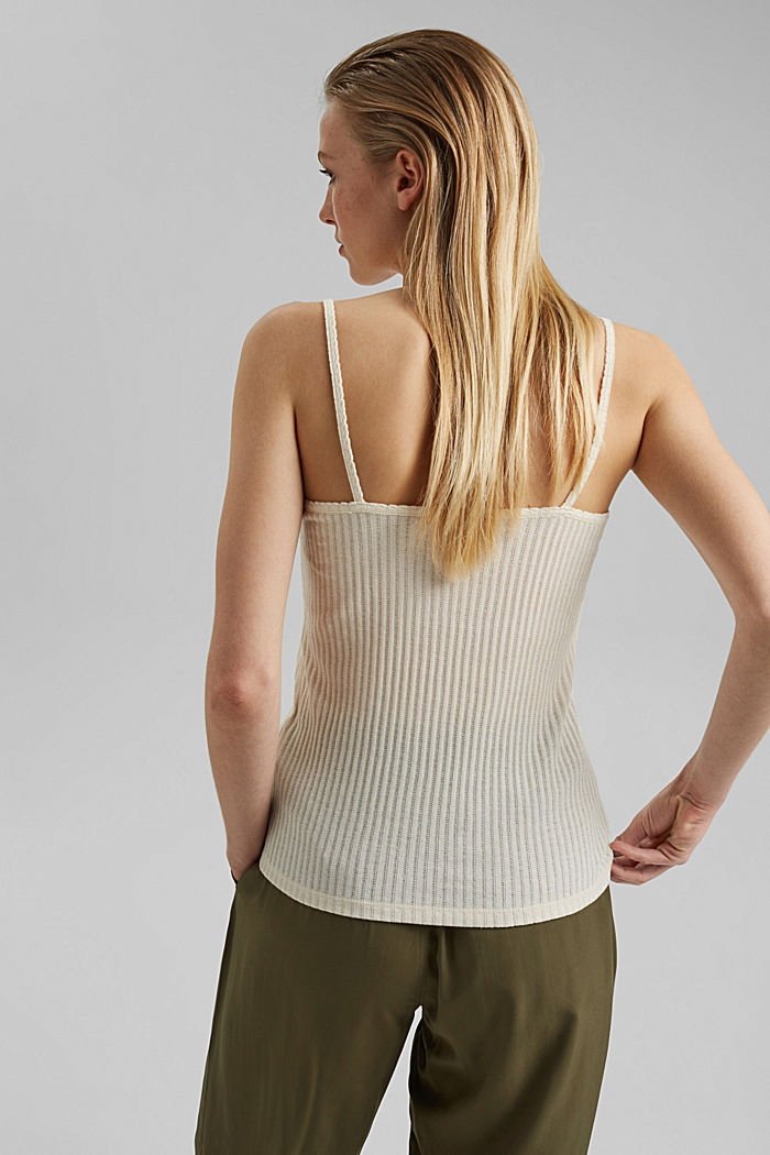 Recycled: strappy top with a pointelle pattern, OFF WHITE, detail image number 3