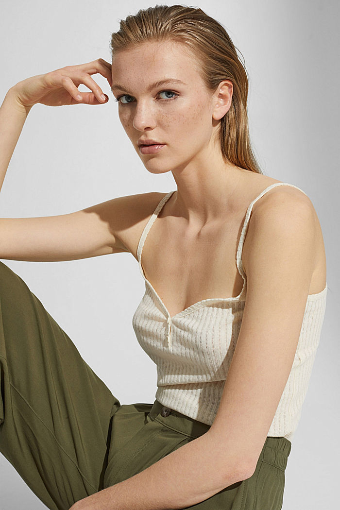 Recycled: strappy top with a pointelle pattern, OFF WHITE, detail image number 5