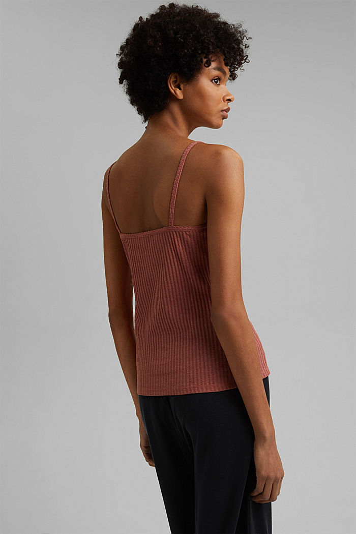 Recycled: strappy top with a pointelle pattern, CORAL, detail image number 3