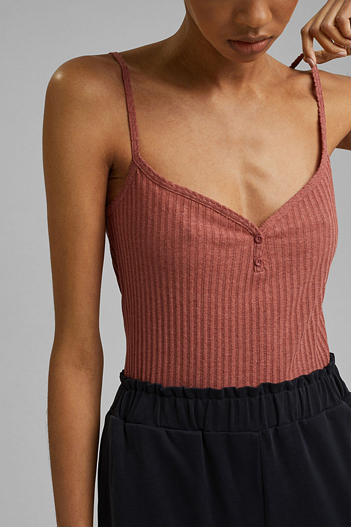 Recycled: strappy top with a pointelle pattern, CORAL, detail image number 2