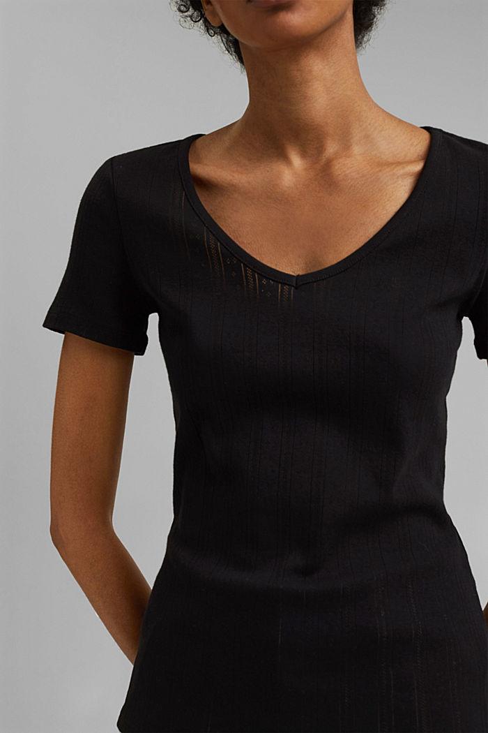 Openwork T-shirt made of 100% organic cotton, BLACK, detail image number 2