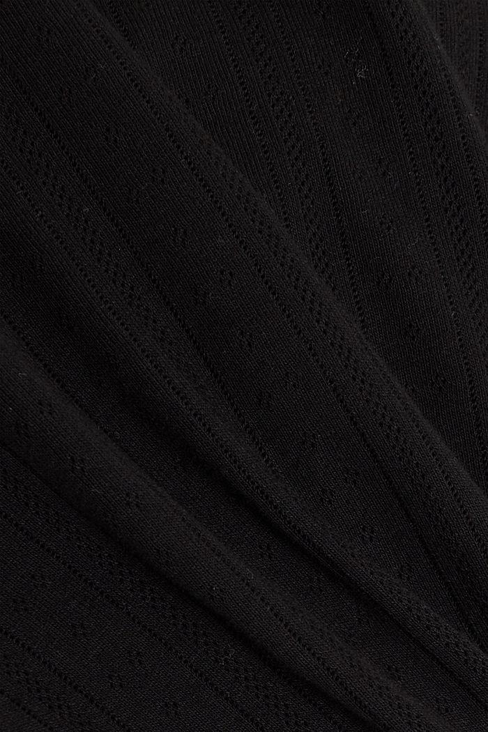 Openwork T-shirt made of 100% organic cotton, BLACK, detail image number 4