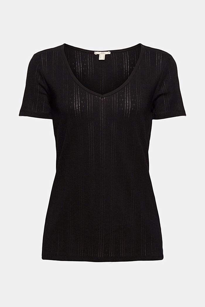 Openwork T-shirt made of 100% organic cotton, BLACK, detail image number 5