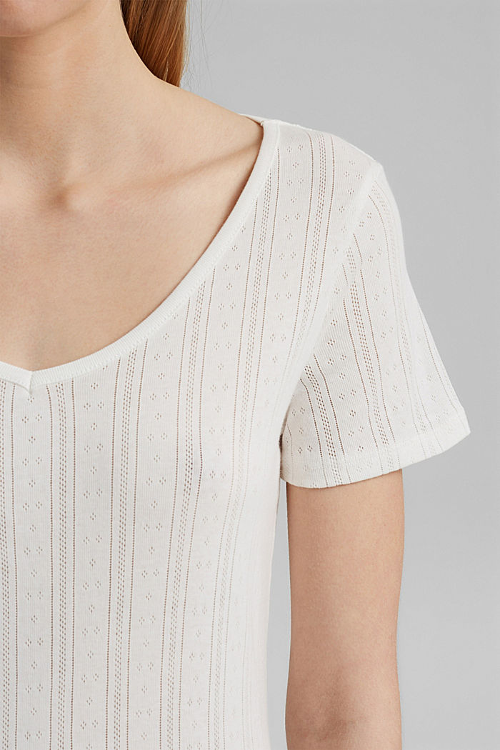 Openwork T-shirt made of 100% organic cotton, OFF WHITE, detail image number 2
