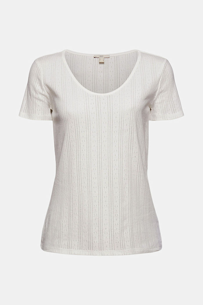 Openwork T-shirt made of 100% organic cotton, OFF WHITE, detail image number 5