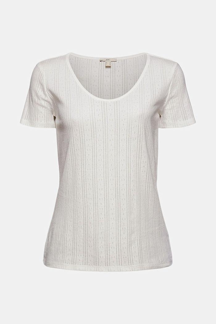 T-shirt met ajourpatroon van 100% biologisch katoen