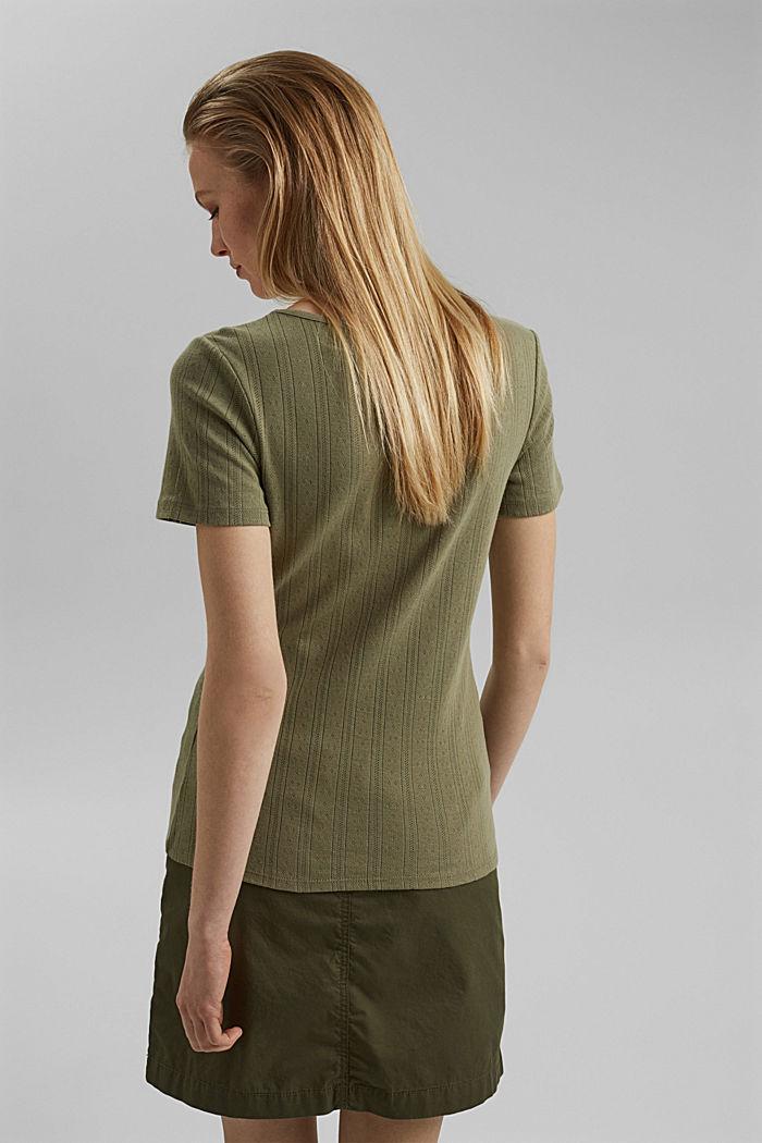 Openwork T-shirt made of 100% organic cotton, LIGHT KHAKI, detail image number 3