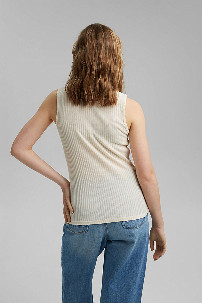 Recycled: sleeveless top with a pointelle pattern, OFF WHITE, detail image number 3