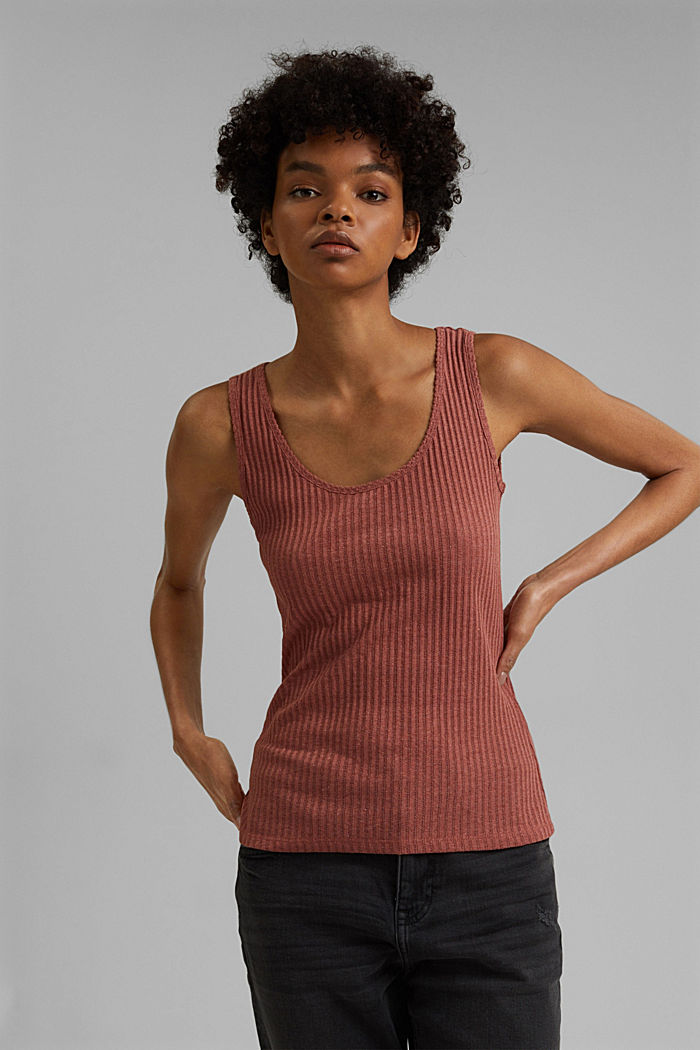 Recycled: sleeveless top with a pointelle pattern, CORAL, detail image number 0