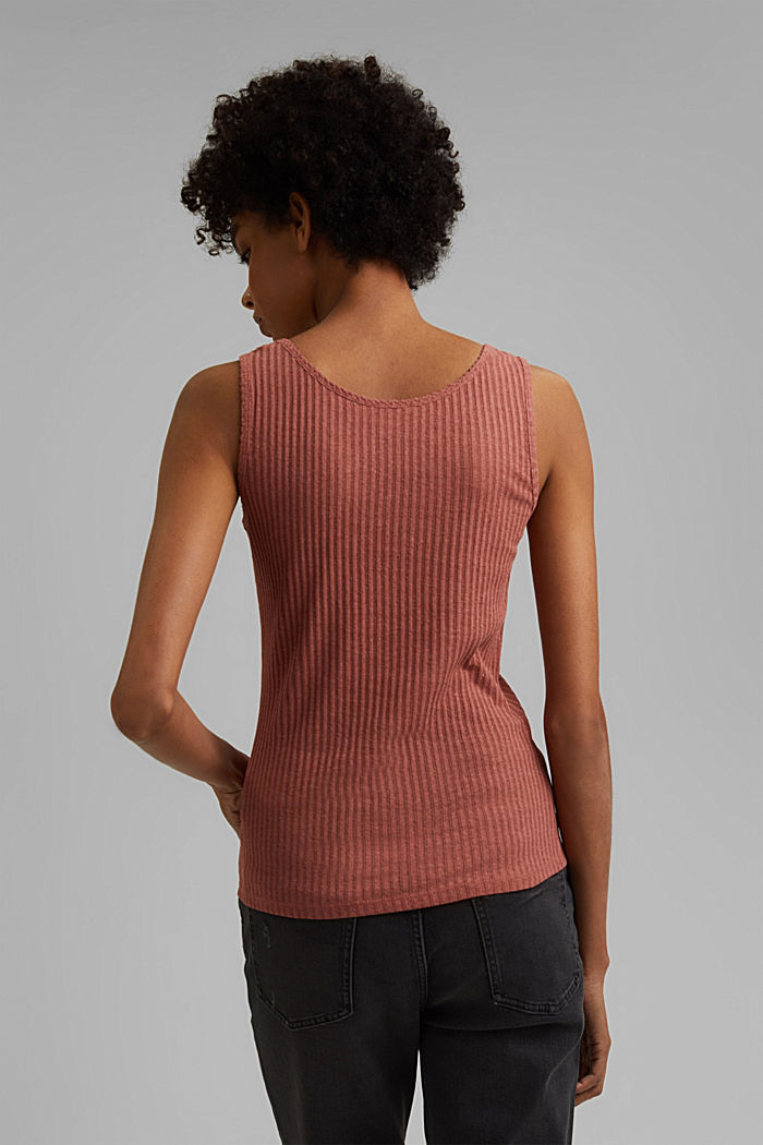 Recycled: sleeveless top with a pointelle pattern, CORAL, detail image number 3