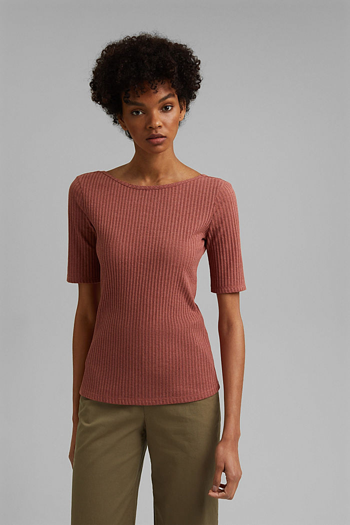 Recycled: T-shirt with a pointelle pattern, CORAL, detail image number 0