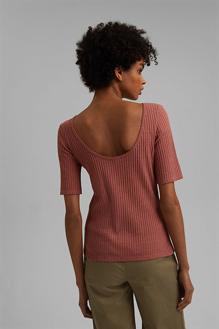 Recycled: T-shirt with a pointelle pattern, CORAL, detail image number 3