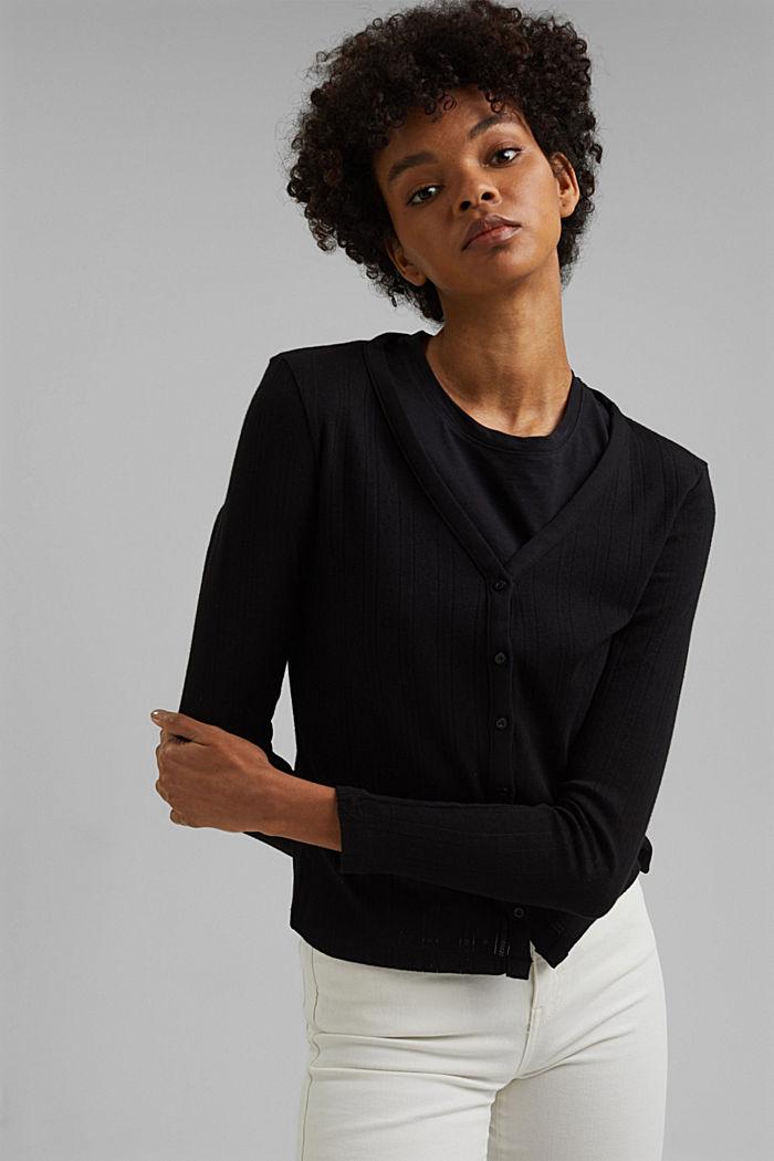 Vest met ajourpatroon van 100% biologisch katoen, BLACK, detail image number 0
