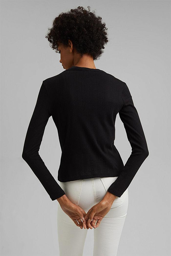 Vest met ajourpatroon van 100% biologisch katoen, BLACK, detail image number 3