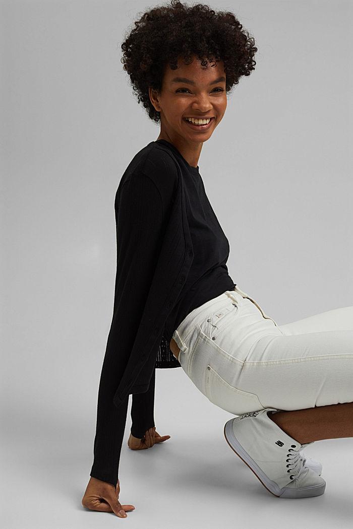 Vest met ajourpatroon van 100% biologisch katoen, BLACK, detail image number 5