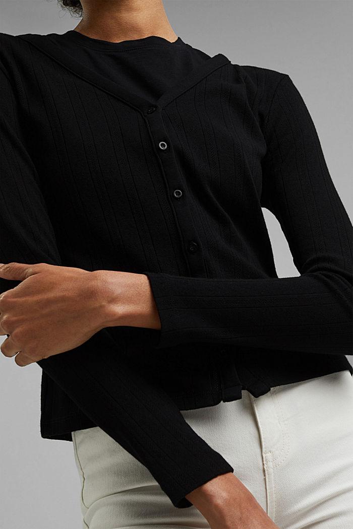 Vest met ajourpatroon van 100% biologisch katoen, BLACK, detail image number 2