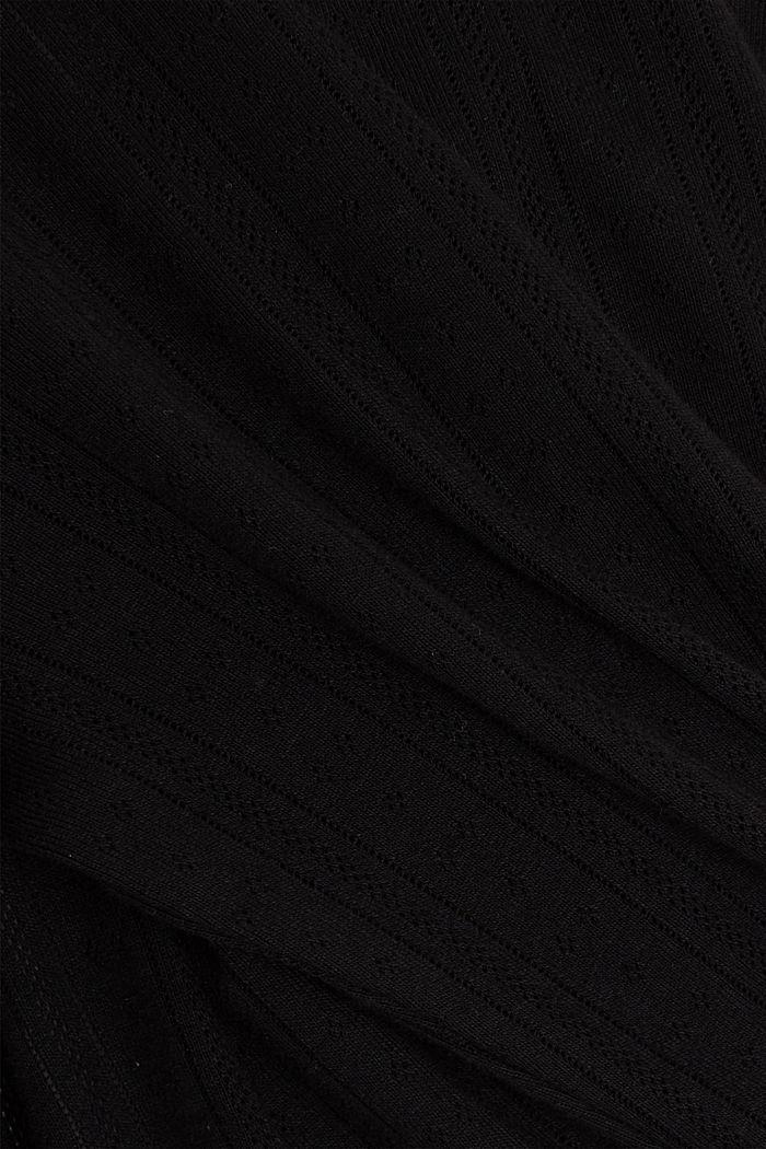 Vest met ajourpatroon van 100% biologisch katoen, BLACK, detail image number 4
