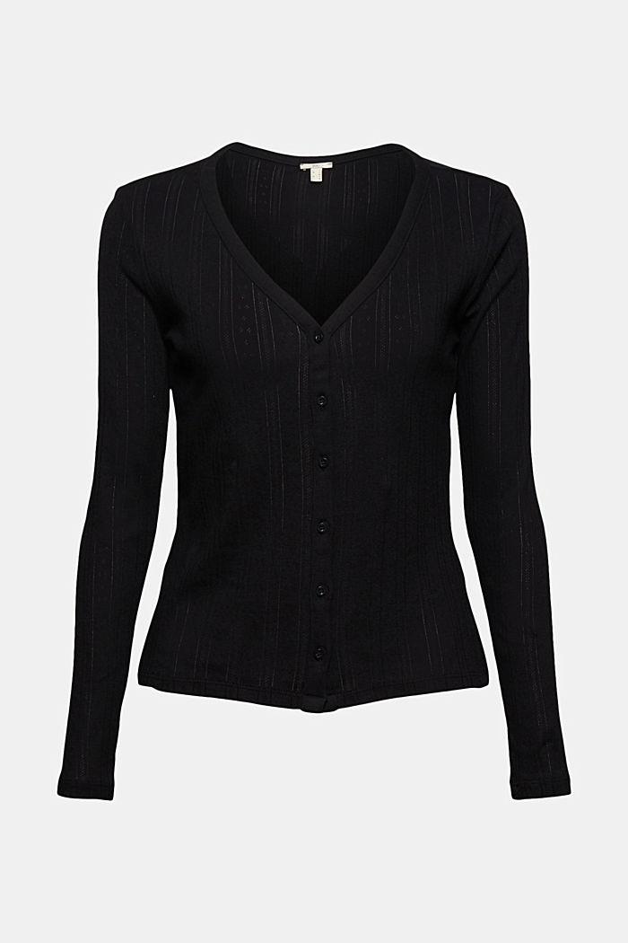 Vest met ajourpatroon van 100% biologisch katoen, BLACK, detail image number 6