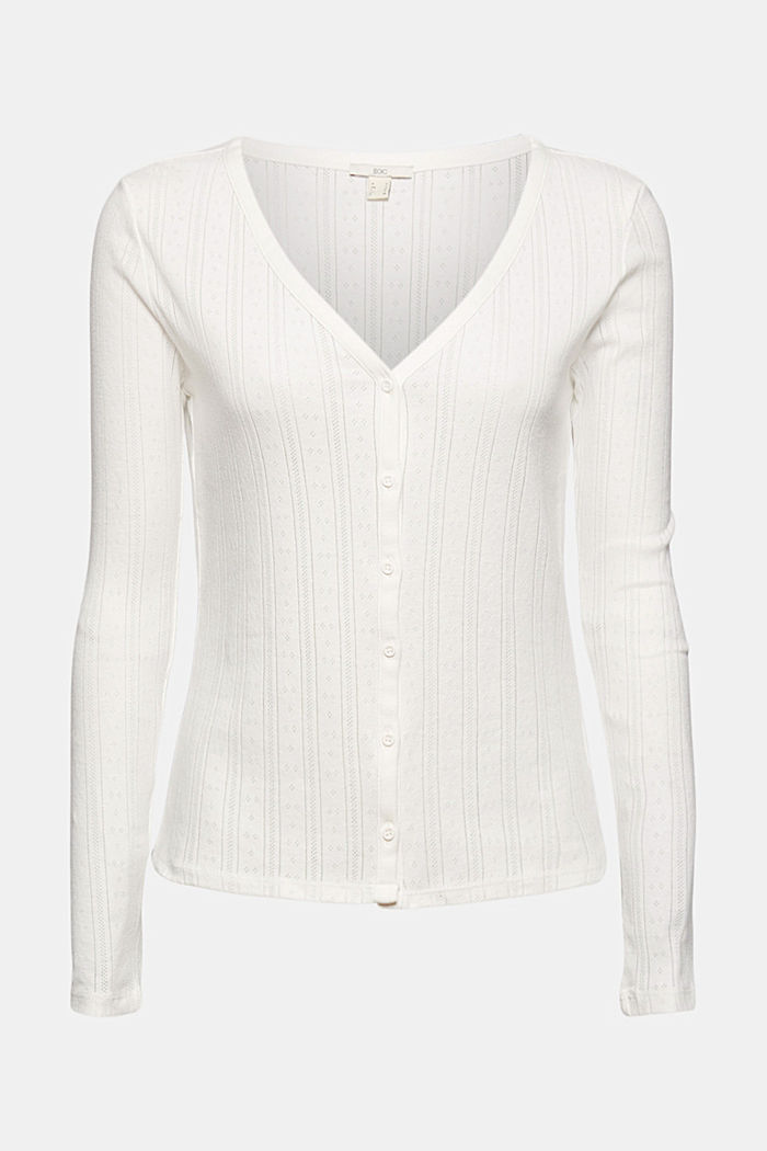 Openwork cardigan made of 100% organic cotton, OFF WHITE, detail image number 6