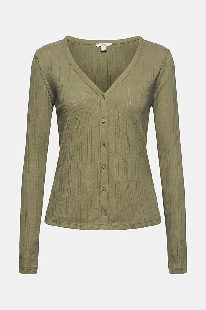 Openwork cardigan made of 100% organic cotton, LIGHT KHAKI, detail image number 6