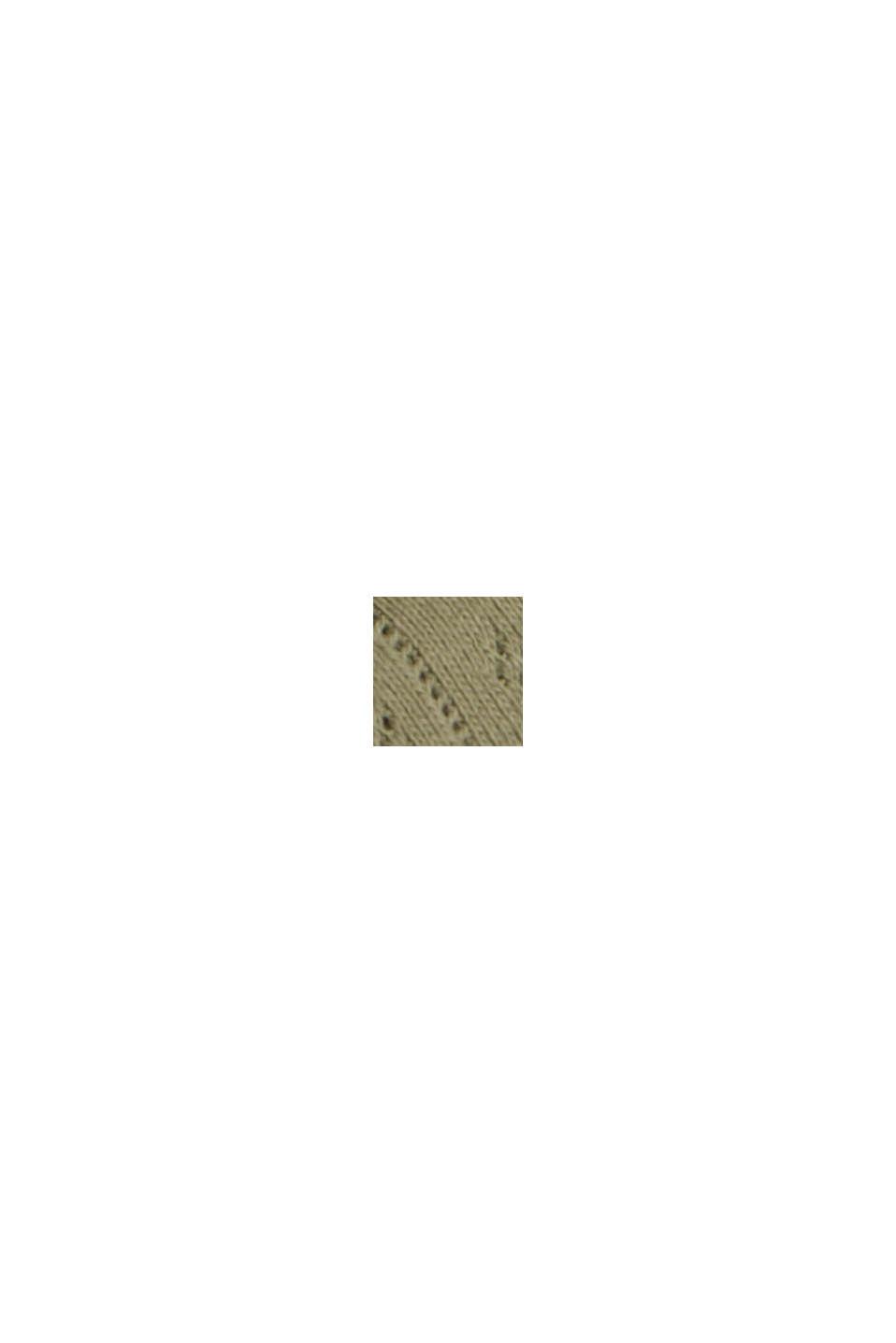 Ajour-Cardigan aus 100% Bio-Baumwolle, LIGHT KHAKI, swatch