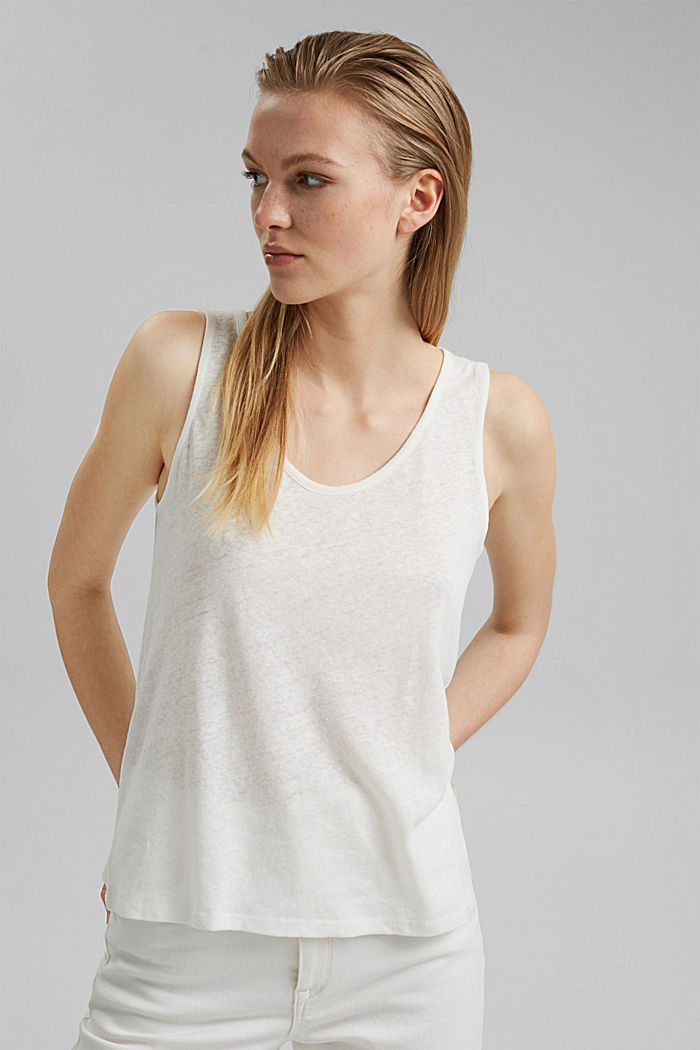Met linnen: tanktop, OFF WHITE, detail image number 0