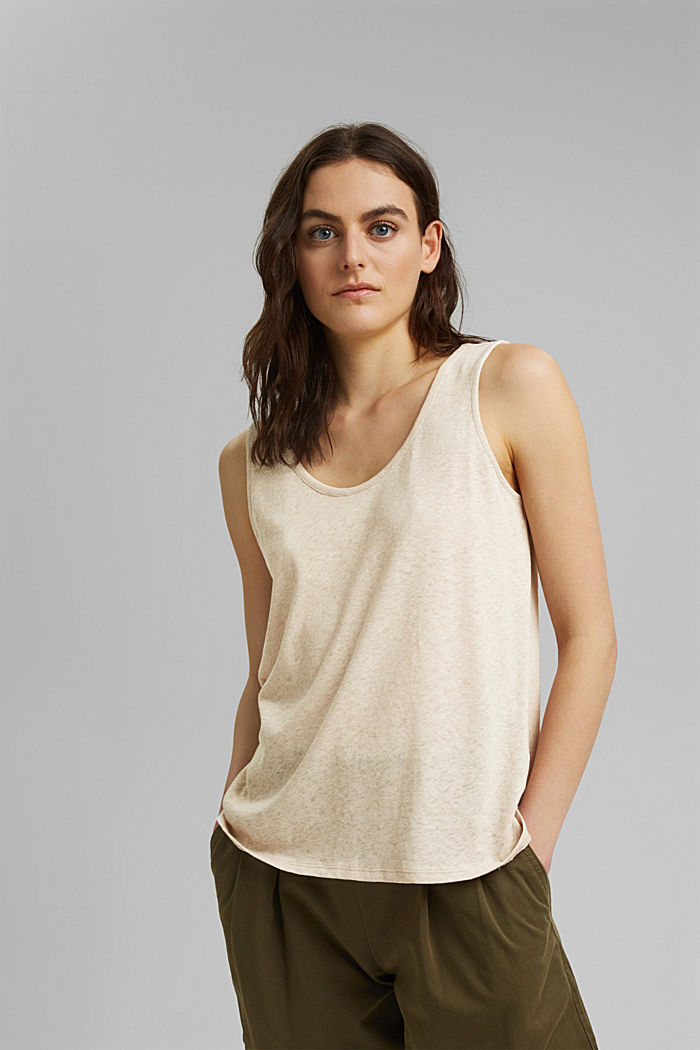Linen blend: sleeveless top, BEIGE, overview
